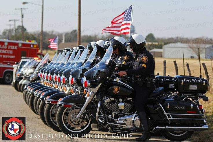 Fort Worth Texas Police Motorcycle Officers Lined Up For