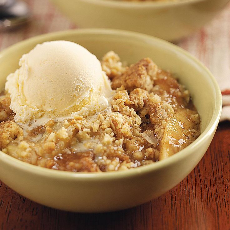 Oat Apple Crisp Recipe -A package of yellow cake mix sets this tasty crisp apart from others. Serve it a la mode for an extra special treat. —Ruby Hodge, Richland Center, Wisconsin