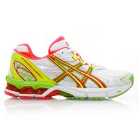 Asics Gel Netburner Professional 8 - Womens Netball Shoes - White/Neon Red/Neon Yellow