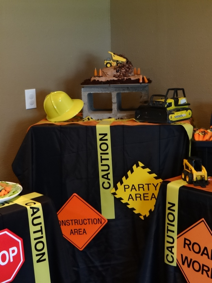 Construction Party Theme: love the caution tape and cinder block cake stand!!