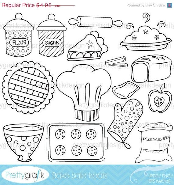 80% OFF SALE baking digital stamp commercial use, vector graphics, digital stamp, digital images - DS310