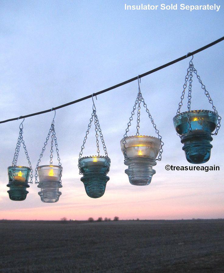 Hanging Insulators Tealights candles, DIY hangers by Treas… | Flickr
