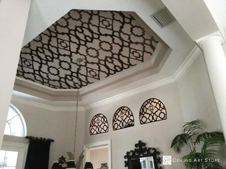 Faux Iron Ceiling Decor | Ceyda design with Antique Bronze finish. Faux iron ceiling art by Ceiling Art Store. This fabulous ceiling and three adjacent niches is a computer rendering featuring Ceyda, one of our favorite lattice designs. The latticework is complete in a light antique bronze finish. #fauxiron #ceilingdesigns #ceilingart #ceilingmedallion #ceilingdecor #homegoods #ceilingtreatment #ceiling #interiordesign #madeinusa #madeintheusa #madeinamerica