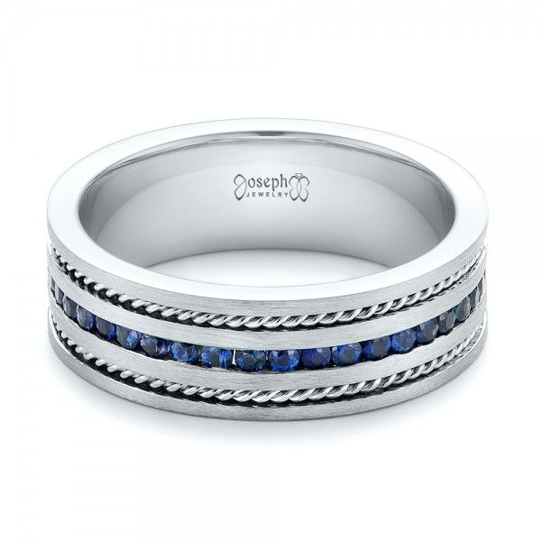 102750 This Stylish Mens Wedding Ring Features A Row Of Channel Set Blue Sapphires