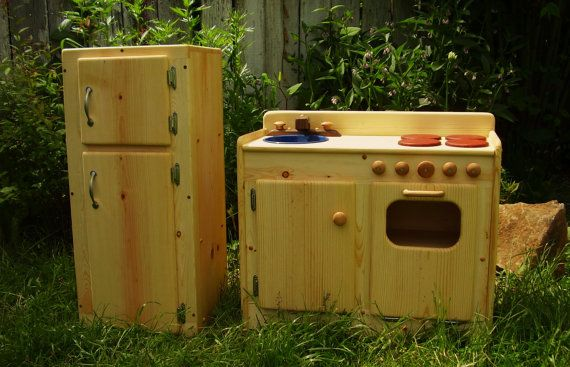 I am in love: Wooden Play Kitchen & Fridge SET by by heartwoodnaturaltoys, $340.00