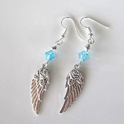 Angel wing earrings crystal bead earrings drop earrings blue faceted crystal bead silver tone boho earrings hippie earrings gift.