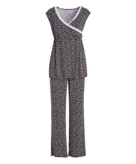 Lamaze Maternity Intimates Black & White Maternity/Nursing Pajama Set | zulily