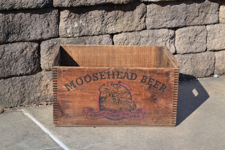 A personal favorite from my Etsy shop https://www.etsy.com/listing/519485713/moosehead-beer-wooden-crate-vintage-wood
