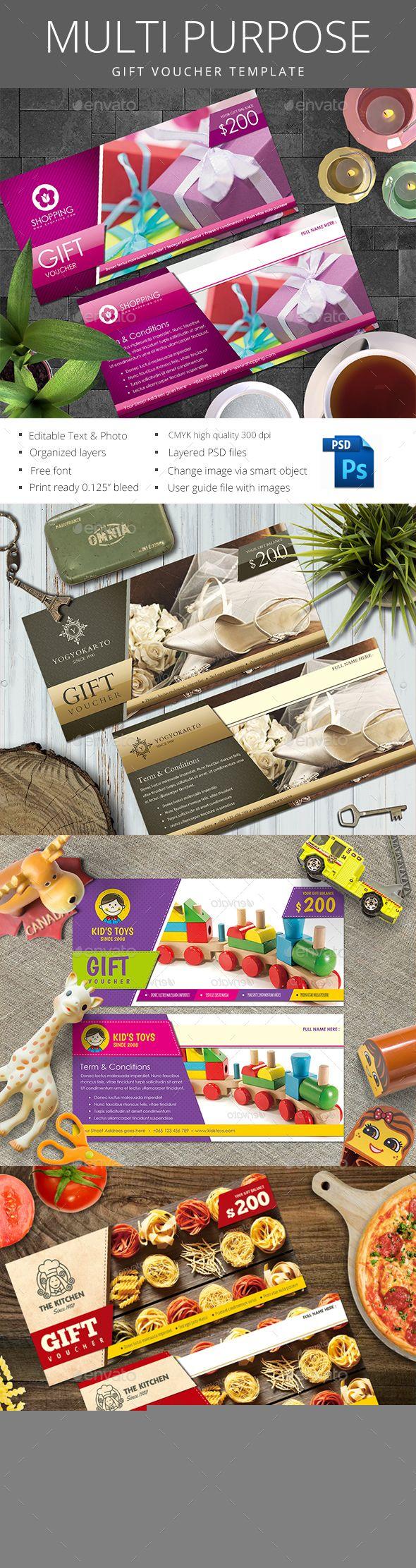 Multipurpose Gift Voucher Template PSD #design Download: http://graphicriver.net/item/multipurpose-gift-voucher/14239634?ref=ksioks