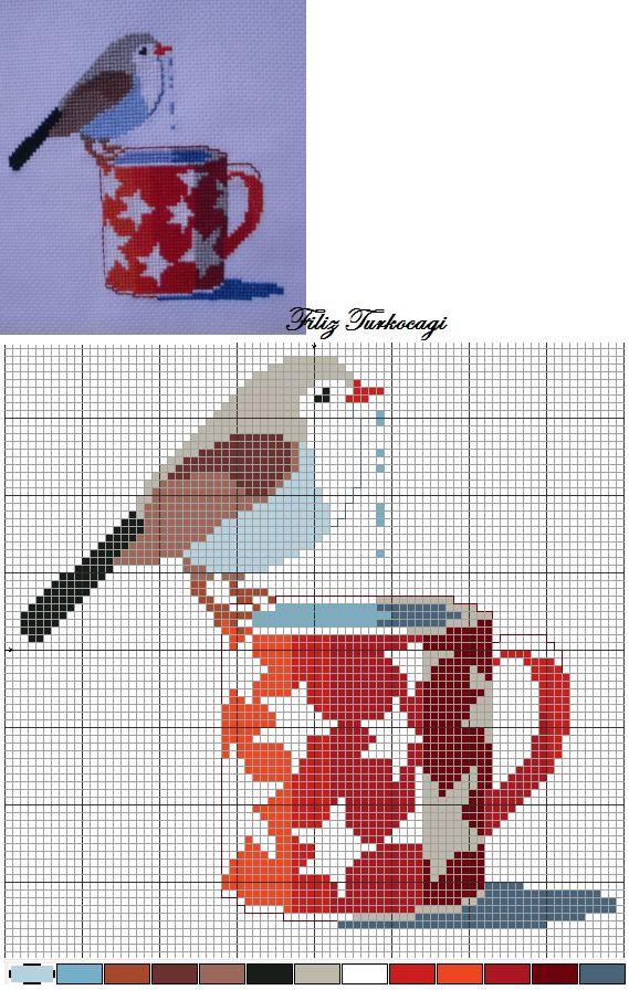 Kuş Seri. Desen :1 ( Bird Series :1 ) Designed and stitched by Filiz Türkocağı