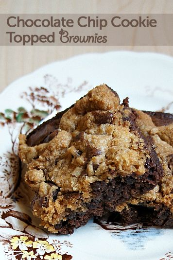 Chocolate Chip Cookie Topped Brownies from parentpretty.com #brownies