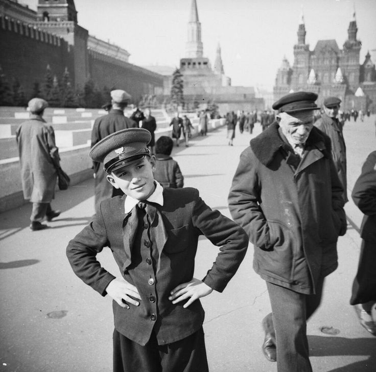 A Russian boy in his school uniform at the Red Square in Moscow, c.1954