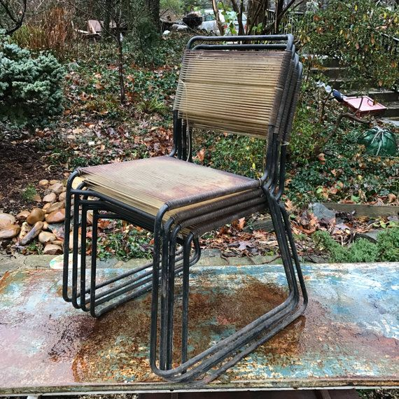 Mid-Century Iron Rod String Chairs Patio Outdoor Deck Four pretty Heavy