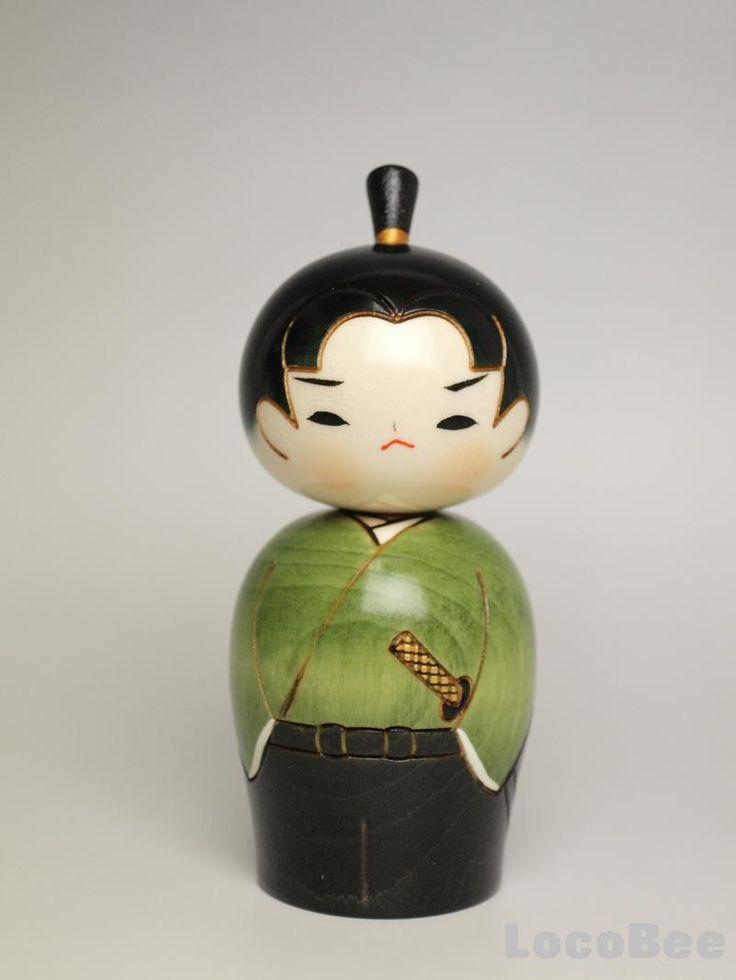 Kokeshi dolls   Japanese Kokeshi Doll by Usaburo - Young Samurai -   eBay