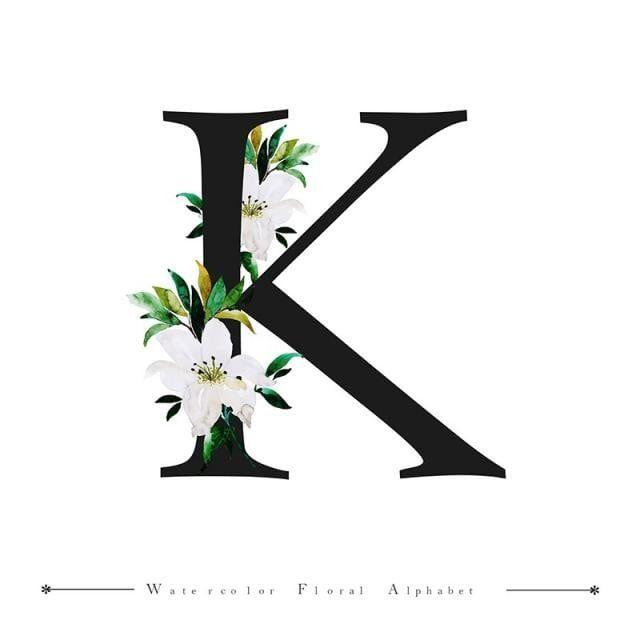 Watercolor Color Floral Leaves Leaf Flowers Character Typography Font Alphabet Text Spring Black White L Lettering Alphabet Floral Background Floral Watercolor