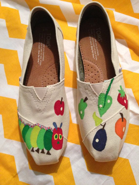 The Very Hungry Caterpillar handpainted TOMS by StorytimeShoes, $90.00