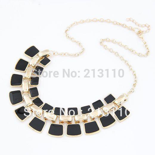 2016 Trendy Necklaces Pendants Gold Color Chain Collar Statement Necklace Long Enamel Geometric Necklaces & Pendants For Women #Affiliate