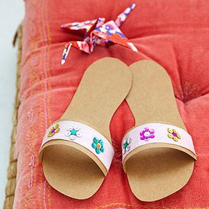 Japanese paper slippers-I would use cardboard so they might last through the party but this is a darling activity for older girls.