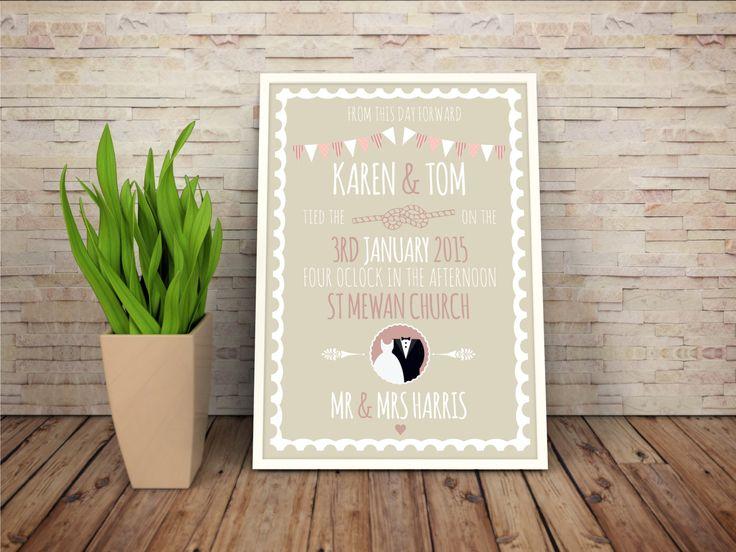 Personalised wedding print, wedding prints, personalised wedding frames, wedding presents, bunting print, prints for newlyweds by MedlinDesign on Etsy