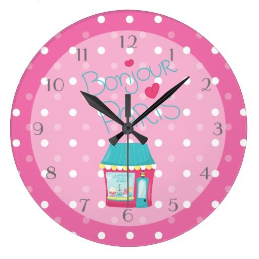 Girls Pink Paris Theme Personalized Wallclock