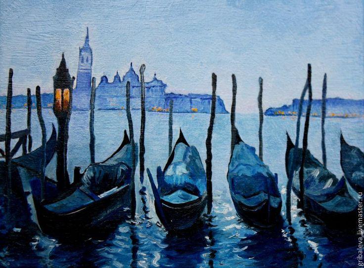 Картина маслом . Ночные огни Венеции - синий,голубой,картина моря,импрессионизм