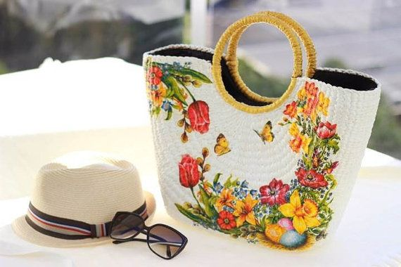 Colorful floral decoupage tole bag with round handle by 1stDesign, $129.00