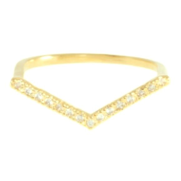 Wanderlust and Co V Bar Gold Ring I believe it is a size 6 but not sure Wanderlust + Co Jewelry Rings