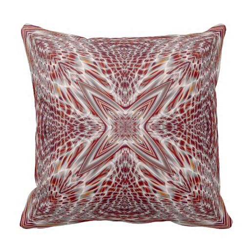 Red Beige White Fractal Throw Pillow Fractals, Throw pillows and Pillows