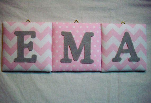Chevron / Dots Pink weißer Schrift / Wand Buchstaben Kinderzimmer / individuell / Kinderzimmer Dekor / Kinder Zimmer / Wand Dekor / Name auf Etsy, 8,31€