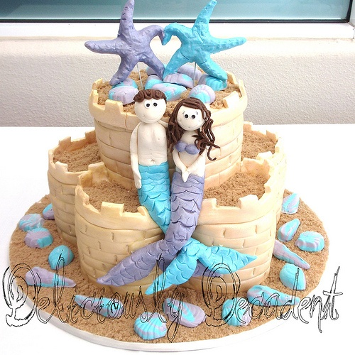 mermaid sand castle cake