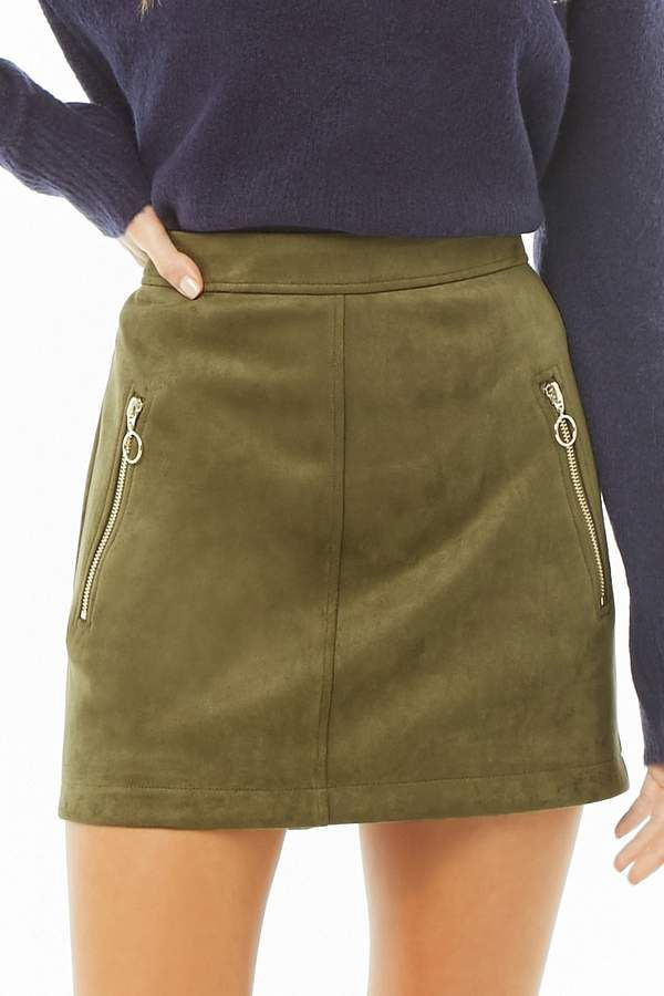 cfc6ad163 $19.90 - Forever 21 Faux Suede Mini Skirt - Available Colors: Camel & Olive  - A #faux #suede #mini #skirt featuring high-polish front zip pockets with  ...