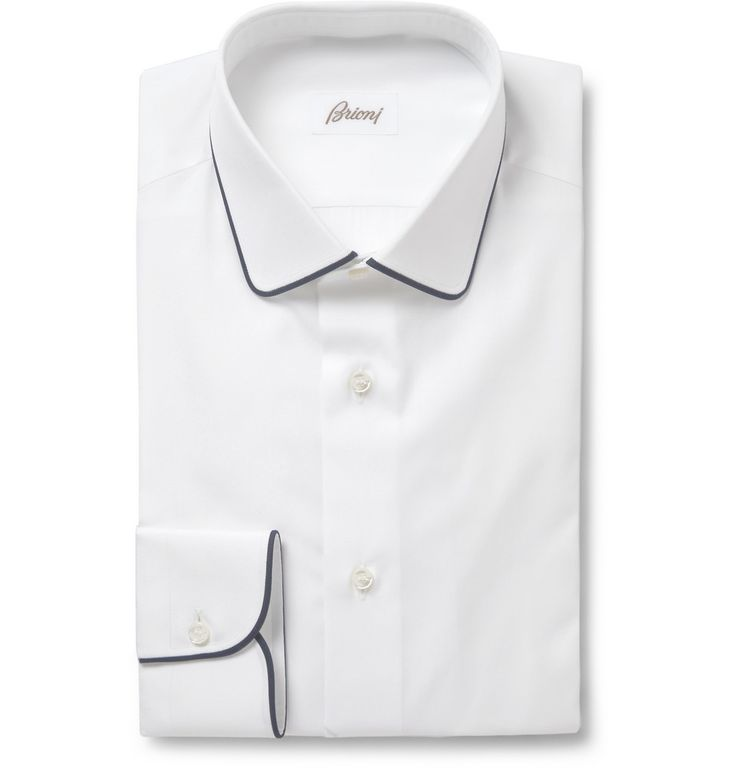 With contrasting navy piping along the slightly curved collar and cuffs, this Brioni shirt will bring new definition to your formal outfits. The brand has a reputation for exacting fit and fine cloth, and this Italian-made piece doesn't disappoint. Try it with an unstructured blazer and knitted tie for a slightly off-centre look.