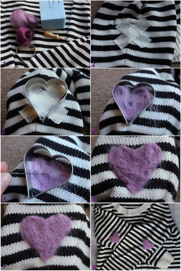 Put felted elbow pads on a sweater. | 47 Unexpected Things To Do With Cookie Cutters