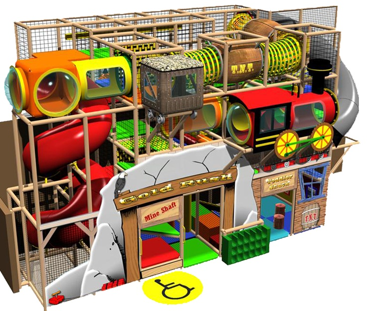 Adventure Park USA - The 17.5-acre Western-themed facility consists of a 22,000-square-foot building with an arcade of 85 redemp¬tion and video games, a custom-made International Play Company of Canada soft play indoor playground called Gold Rush.  Rendering of the play area.
