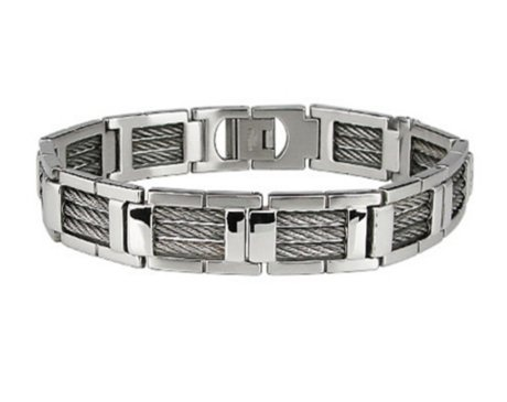 Modern and architectural, this menï¾'s stainless steel bracelet is a contemporary classic. This stainless steel bracelet features high polished links with rugged stainless steel cable inlay, completed with a fold-over clasp. This impressive armband measures 12mm wide by 8.5 inches long. To know more visit - http://www.justmensrings.com/Mens-Stainless-Steel-Bracelet-With-Links-and-Cable-Inlay_p_1133.html
