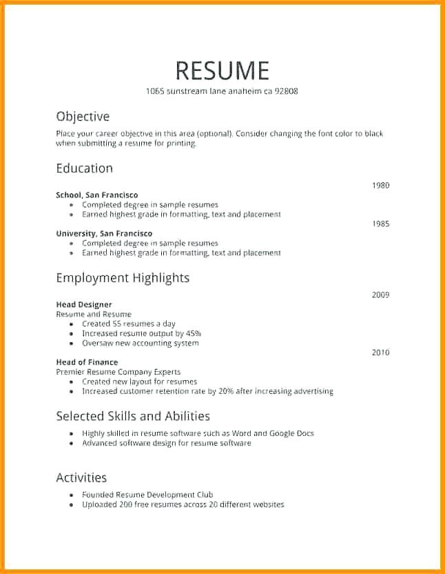 free resume templates first job