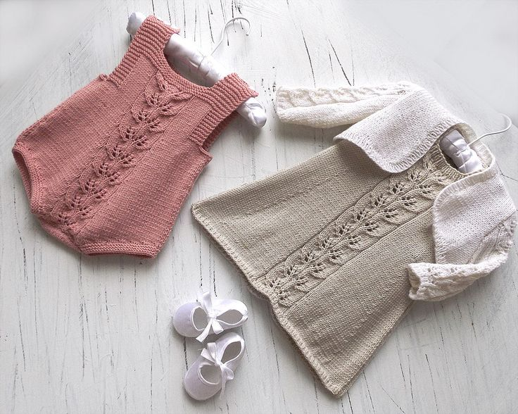 3 in 1 knitting pattern: baby romper + A line dress with delicate leaf pattern running down the front + matching bolero