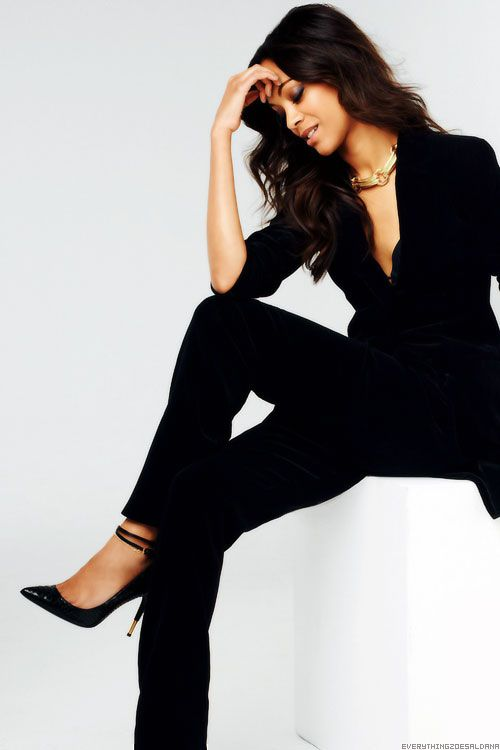 Sophisticated Black Pantsuit with a Touch of Gold