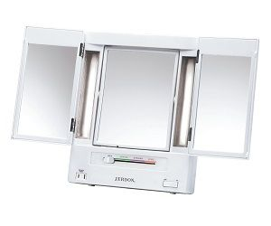 jerdon tabletop trifold twosided lighted makeup mirror with and settings white finish