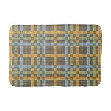 Brown Blue Ochre Yellow Green Tartan Pattern Bathroom Mat - classic gifts gift ideas diy custom unique