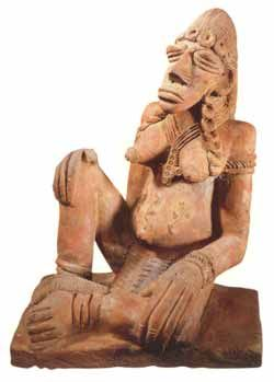 Djenne Terracotta Sculpture of a Seated Woman - PF.3708 Origin: Central Mali Circa: 12 th Century AD to 14 th Century AD  Collection: African