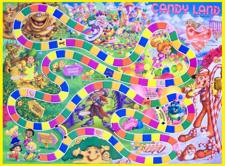 Making our own candy land game with real candy! Decorate the board, play the game, eat the candy!
