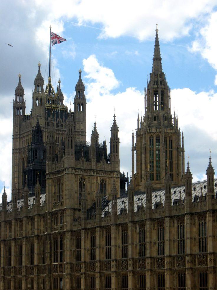 The Palace of Westminster, London - Apparently, the Union Flag seen flying atop the Parliament buildings is the largest such flag in the entire UK. Cool!