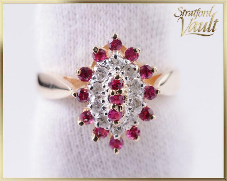 Vintage ~ Ruby and Diamond Right Hand Ring ~ 14K Yellow & White Gold ~  Brilliant Cut Genuine Rubies ~ Single Cut Diamonds ~ JW2015_002 by StratfordVault on Etsy