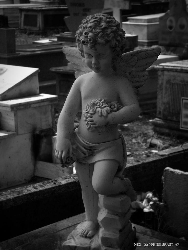 Cemetery Sculpture, Gothic child angel. Korce, Albania. Nex SapphireBrast | Photography ©