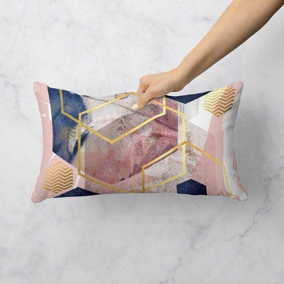 Blush Pink Navy And Gold Rectangular Throw Cushion Abstract Geometric Throw Pillow Lumbar Cushion Acc Pink Bedroom Decor Geometric Throw Pillows Throw Cushions