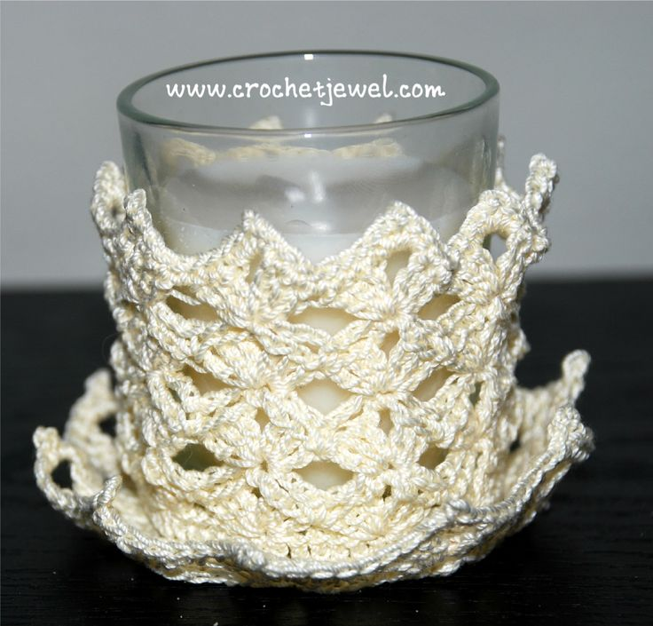 Crochet Shell Candle Holder If you tell others about my work, please only link back to my blog, but don't copy my patterns to your site. Also you can sell anything you make from my patterns, but don't sell the pattern. Thank you! My Crochet You Tube Channel:https://www.youtube.com/user/amray767