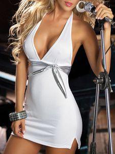 White Club Dress Sexy Halter Knotted Backless Bow Bodycon Dress For Women