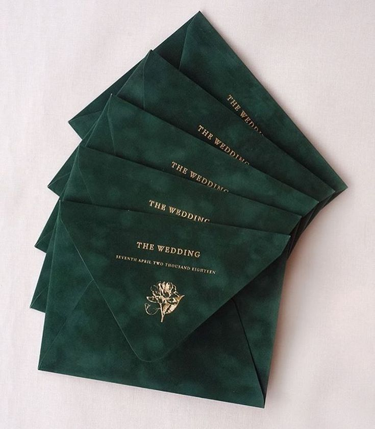 Dark emerald green embossed envelopes perfect for those