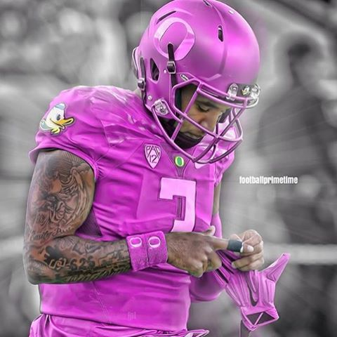 A pink Oregon Ducks Breast Cancer Awareness concept uniform made by @footballprimetime. What ...